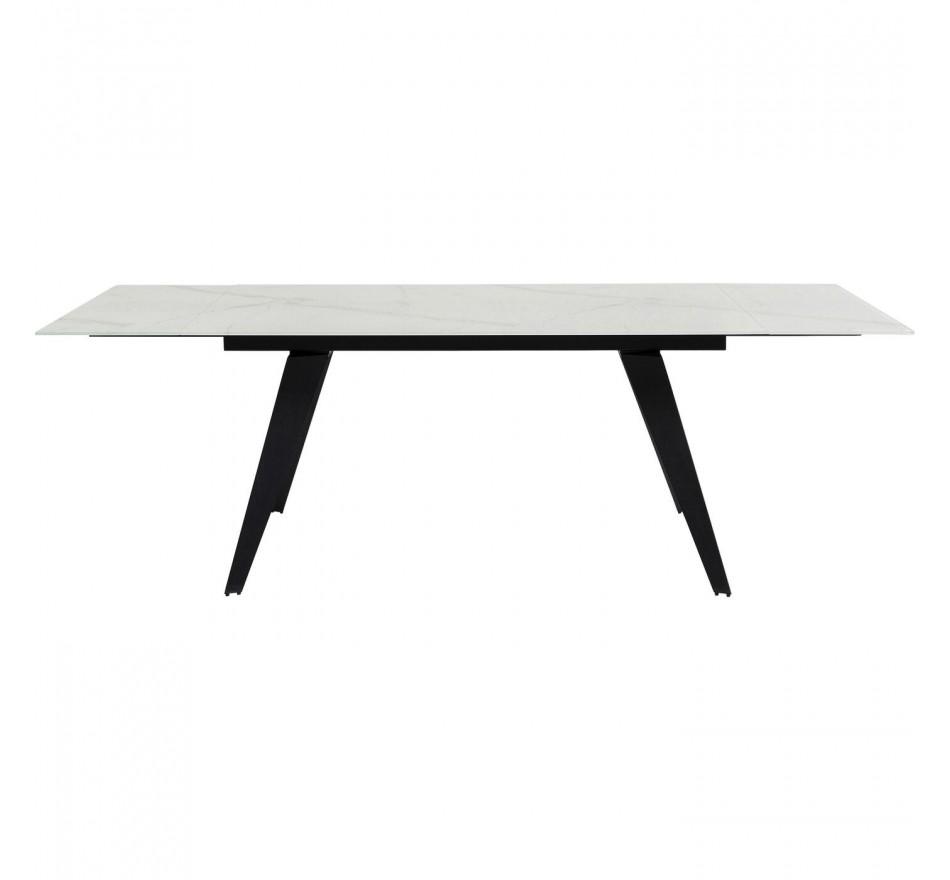 Table à rallonges Amsterdam 160x90cm effet marbre blanc Kare Design