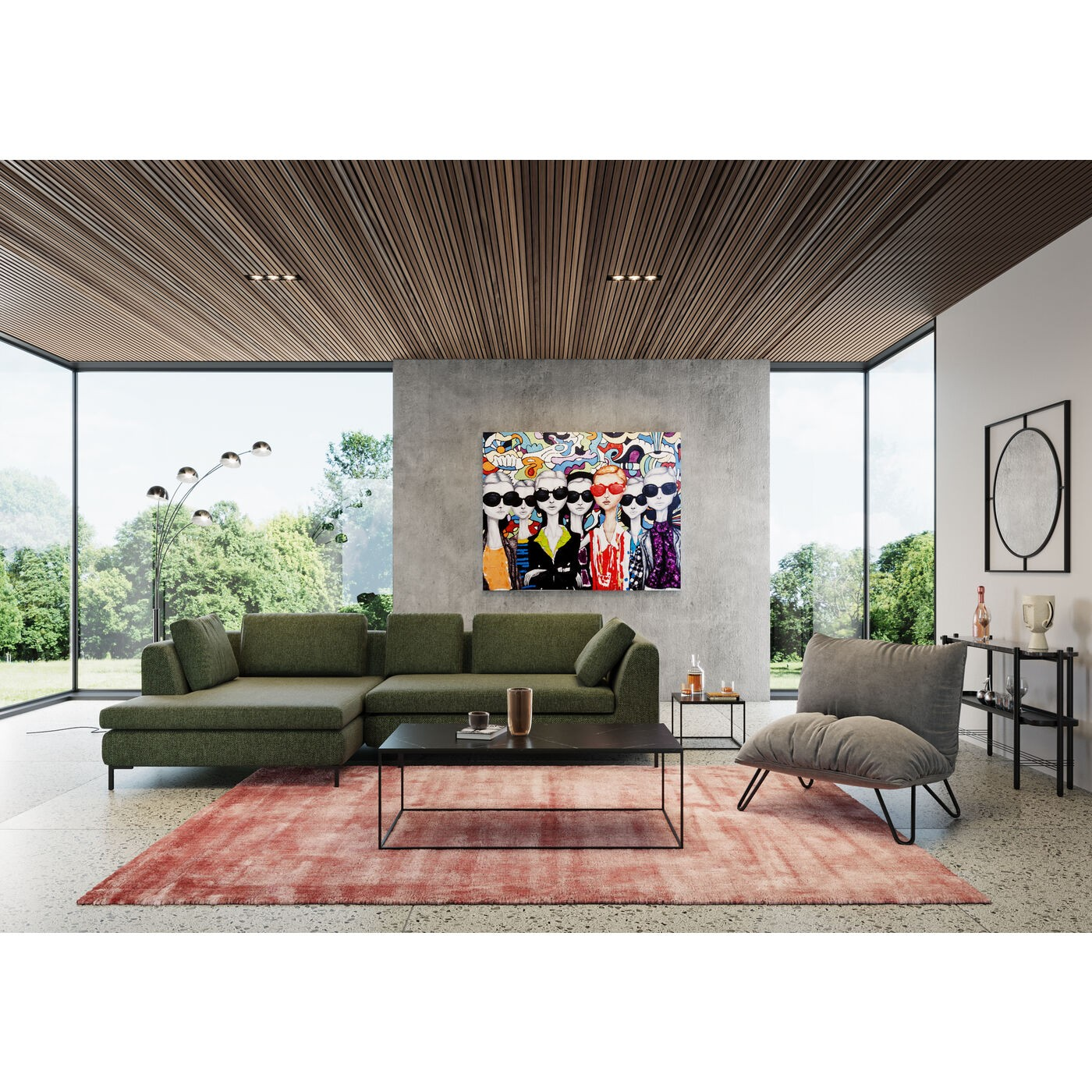 Miroir Stanford 90x90cm noir Kare Design