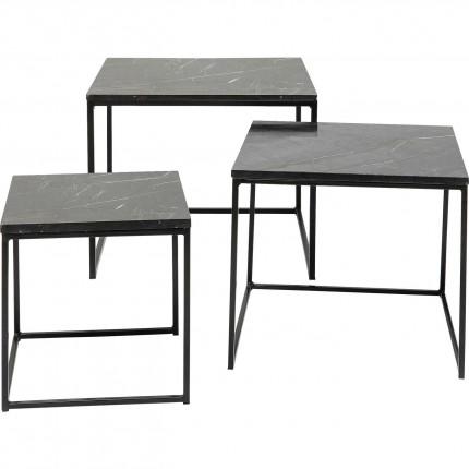 Tables d'appoint Key West noires set de 3 Kare Design