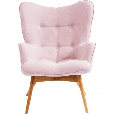 Fauteuil Vicky blanc velours rose Kare Design