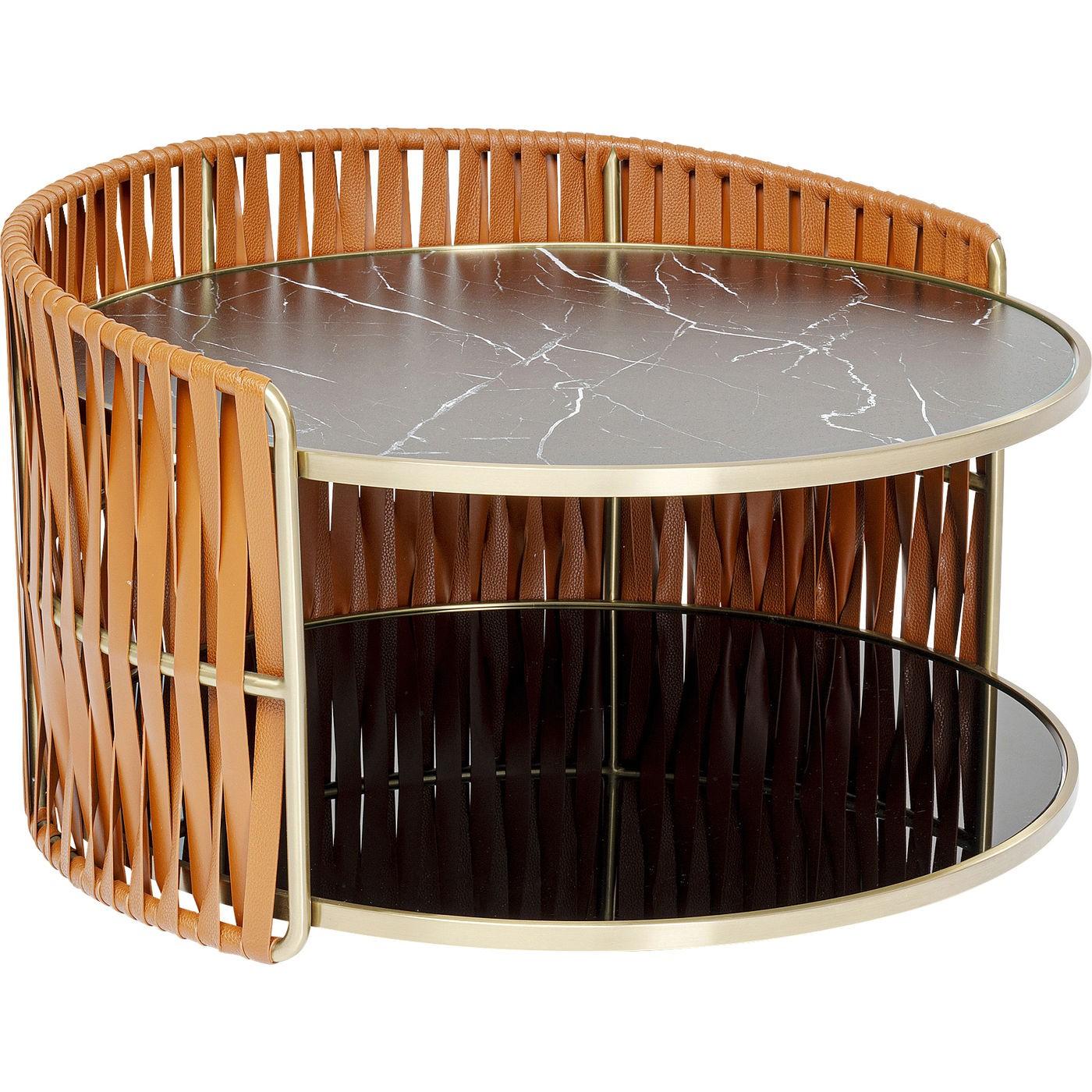 Table basse effet marbre noir double 86cm Kare Design