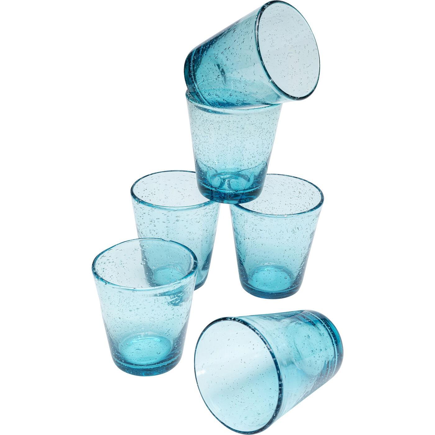 Verres à eau Bubble bleus set de 6 Kare Design