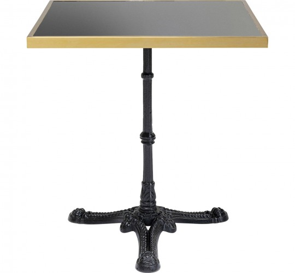Table Bistrot marbre noir et or carrée 60x60cm Kare Design