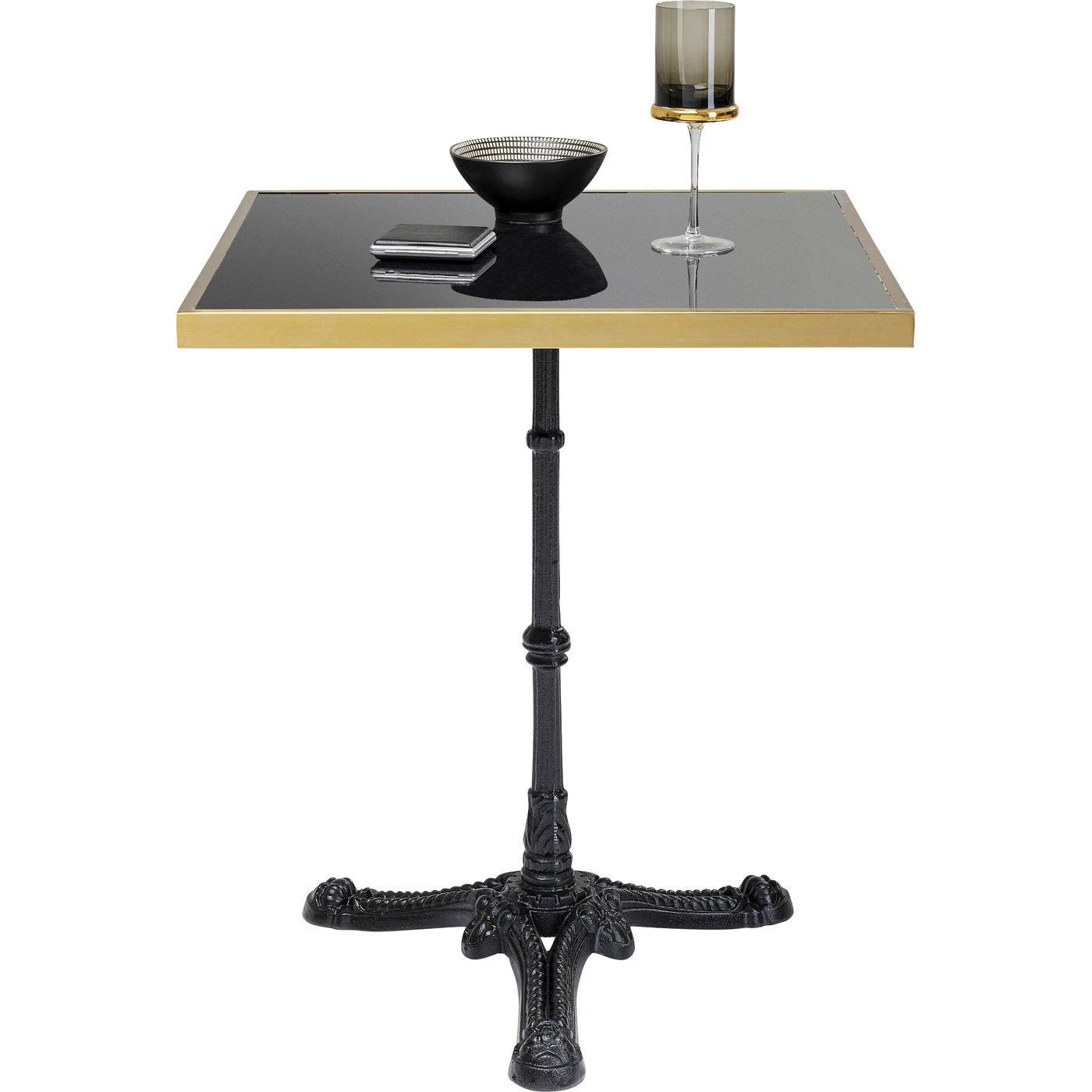 Table Bistrot carrée 60x60cm marbre noir et or Kare Design