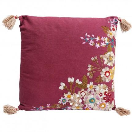 Coussin fleurs bordeaux Kare Design