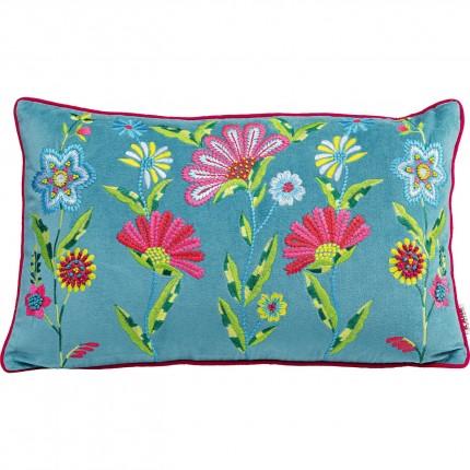Coussin bleu fleurs Kare Design
