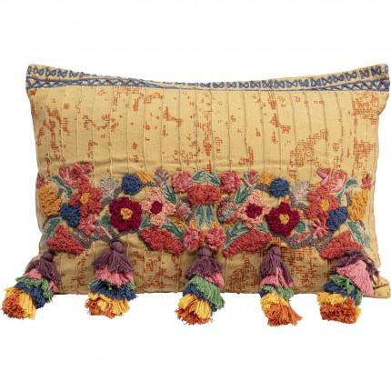 Coussin fleurs et pompons 50x35cm Kare Design