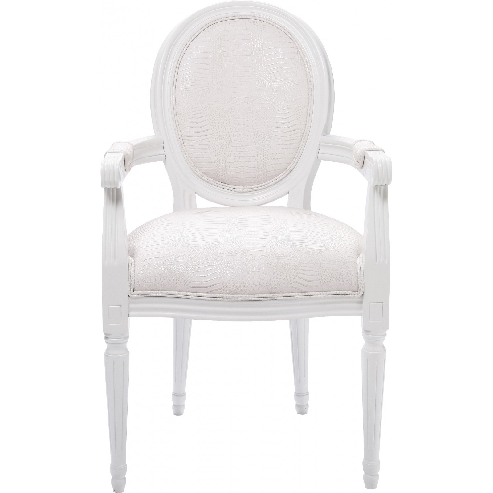 Chaise avec accoudoirs baroque blanche louis kare design for Chaise simili cuir blanche