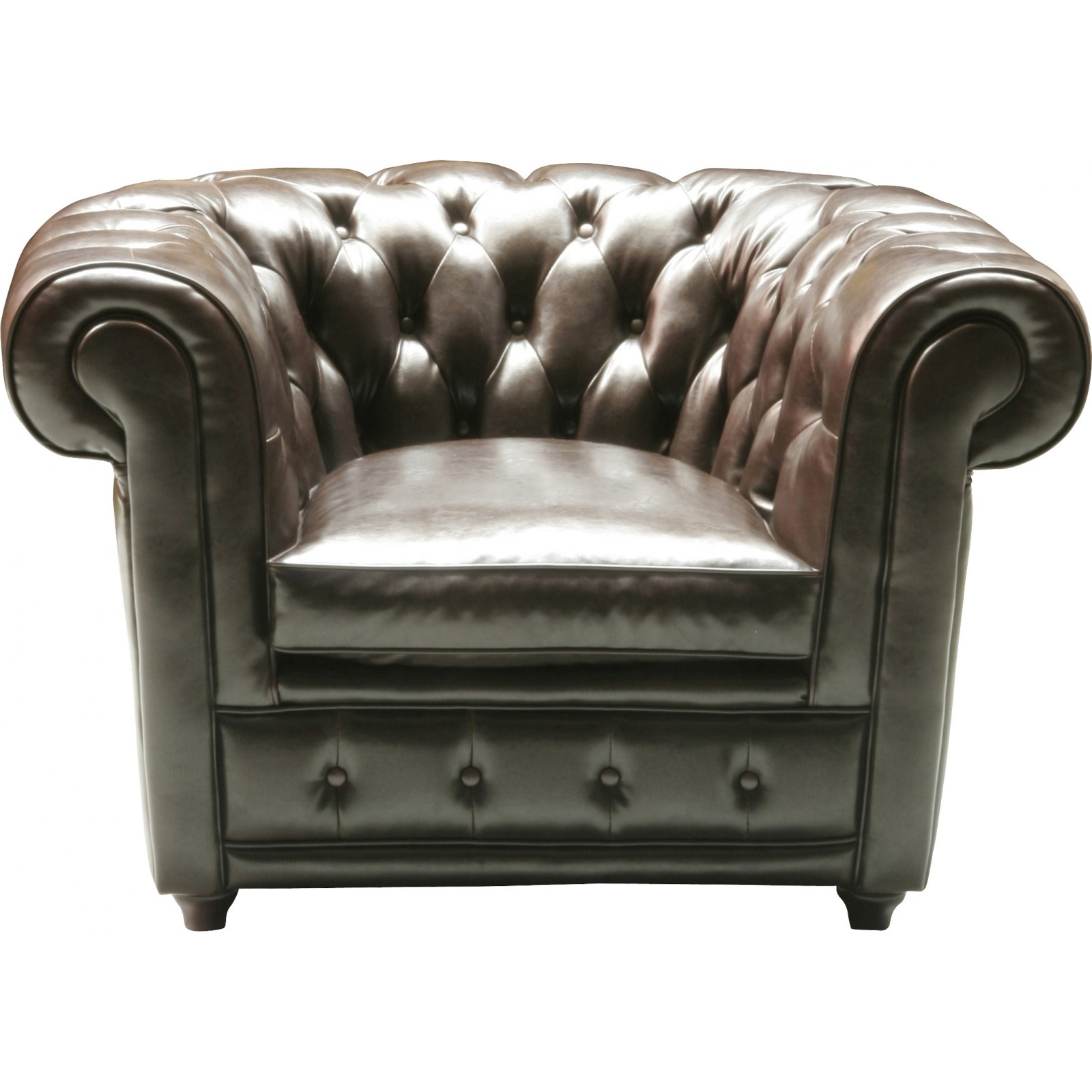 fauteuil chesterfield vintage en cuir brun fonce oxford kare design. Black Bedroom Furniture Sets. Home Design Ideas