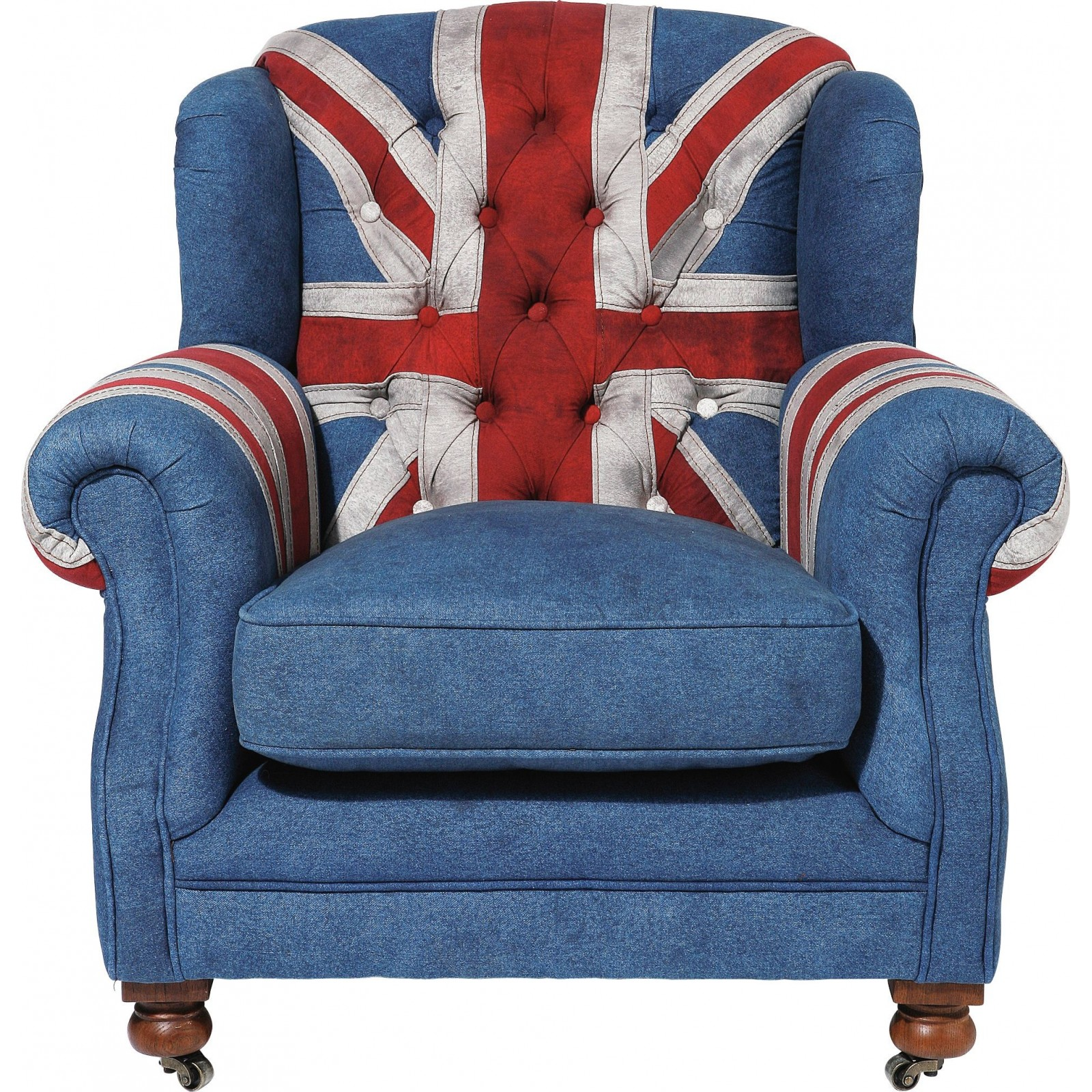 fauteuil vintage en jean union jack style berg re grandfather kare. Black Bedroom Furniture Sets. Home Design Ideas