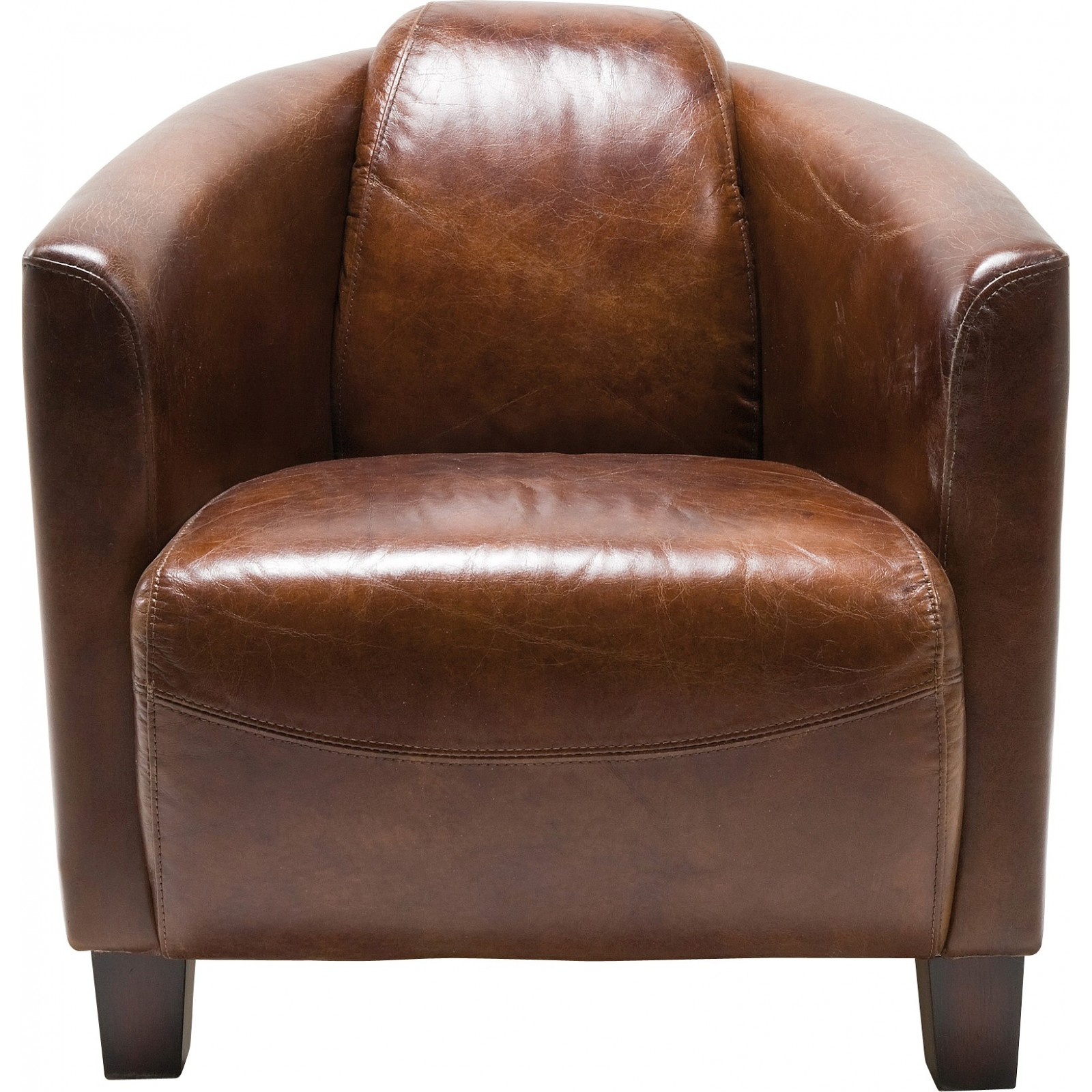 fauteuil vintage en cuir marron cigar lounge kare design. Black Bedroom Furniture Sets. Home Design Ideas