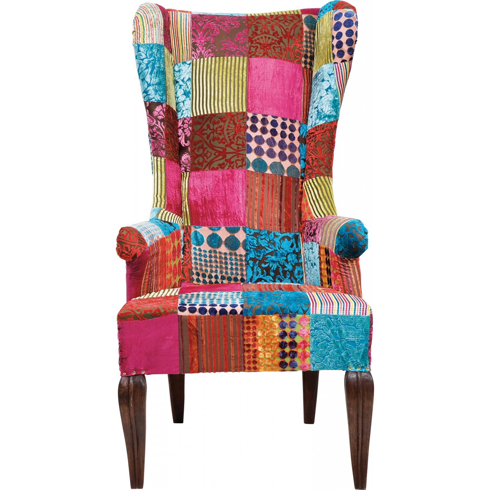 Fauteuil Traditionnel En Velours Multicolore Patchwork Kare - Fauteuil multicolore design