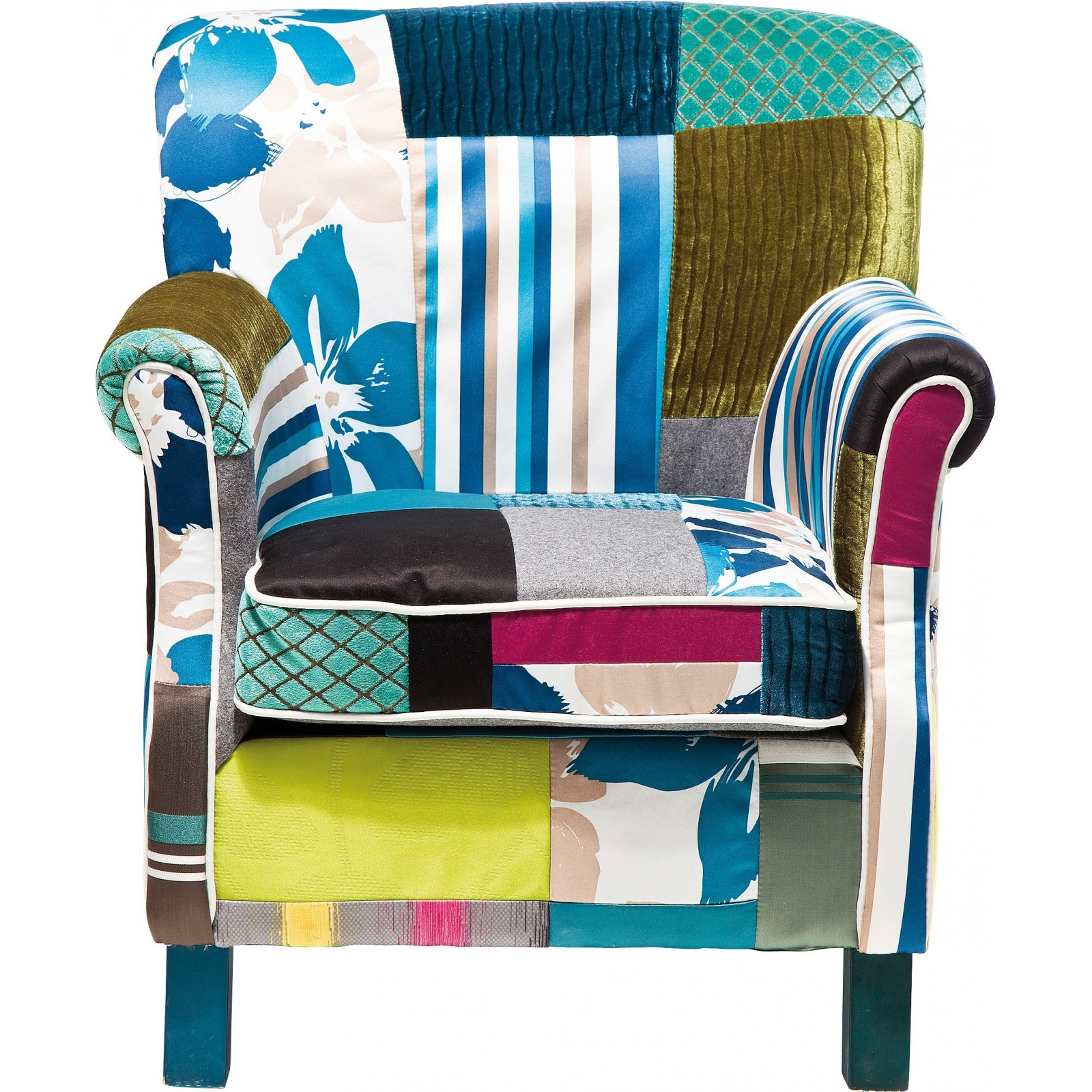 Fauteuil Vintage Multicolore Patchwork Stripes Kare Design - Fauteuil multicolore design