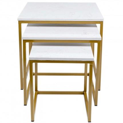 Tables d'appoint Key West dorées set de 3 Kare Design