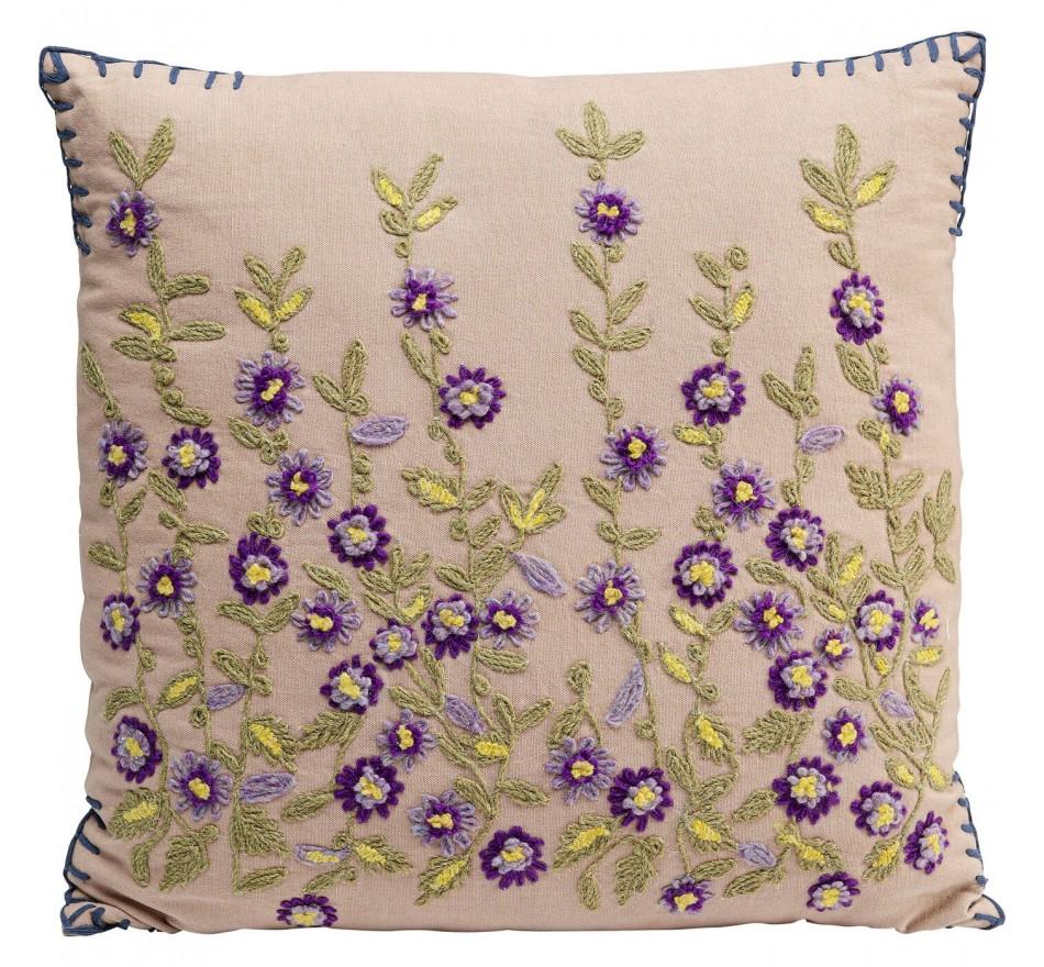 Coussin fleurs violettes 50x50cm Kare Design