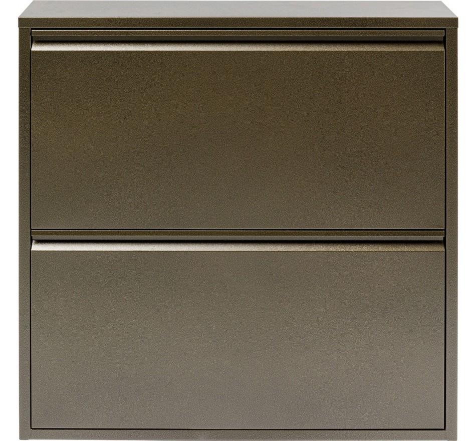 Casier à chaussures Caruso 2 tiroirs bronze Kare Design