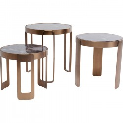 Tables basses Perelli cuivre set de 3 Kare Design