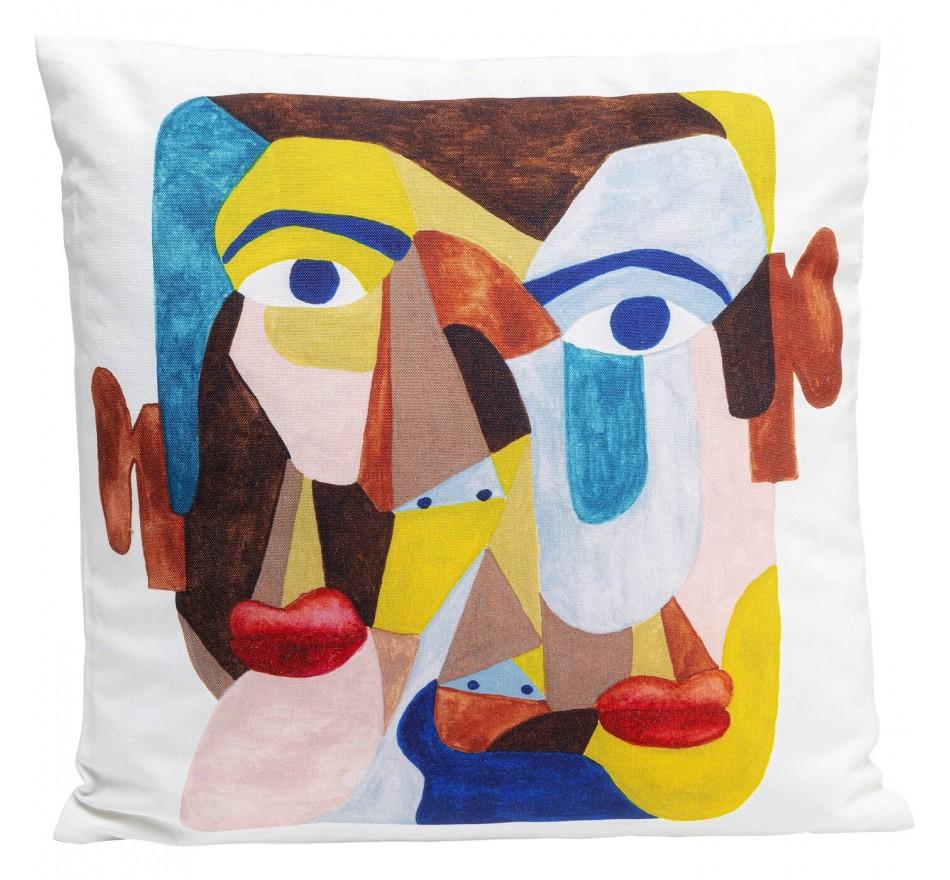 Coussin visage abstrait 45x45cm Kare Design