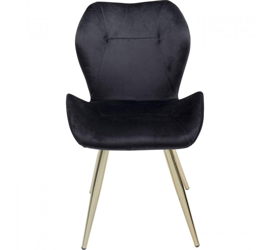 Chaise Viva velours noir et or Kare Design
