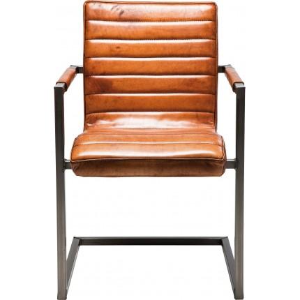 Chaise avec accoudoirs Cantilever Riffle cuir buffle Kare Design