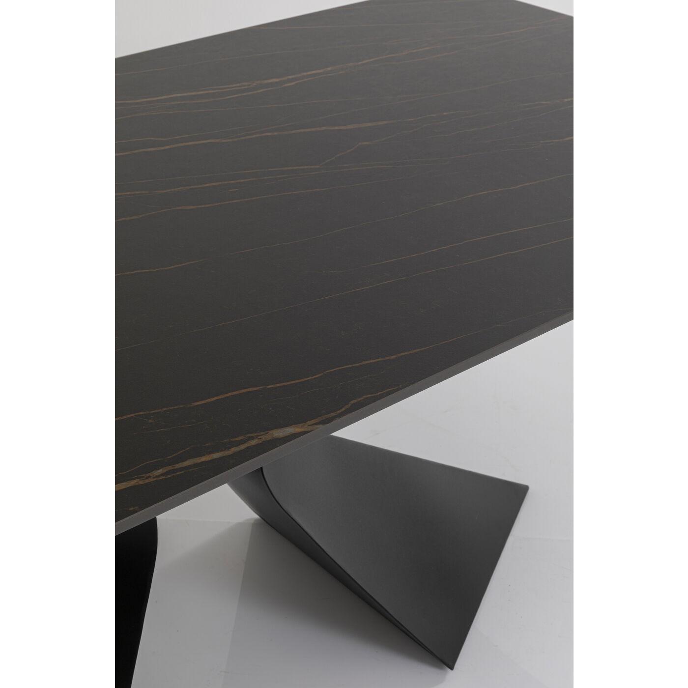 Table Gloria 200x100cm effet marbre noir Kare Design
