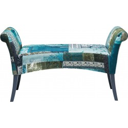 Banc tissu Motley patchwork bleu-vert Kare Design