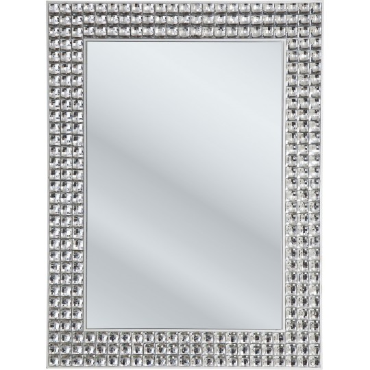 Miroir strass argent crystals kare design for Miroir 60x80