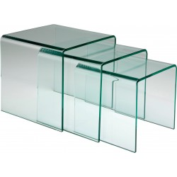 Tables d'appoint Clear Club Gigognes set de 3 Kare Design
