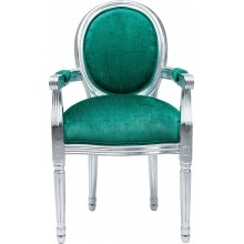 Fauteuil Louis Silver Leaf Turquoise Kare Design