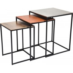 Tables d'appoint loft Square Vintage set de 3 Kare Design