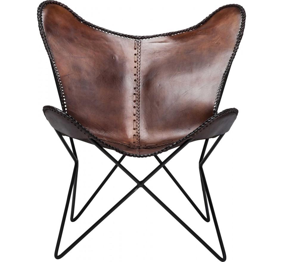 fauteuil vintage en cuir marron butterfly eco kare design. Black Bedroom Furniture Sets. Home Design Ideas