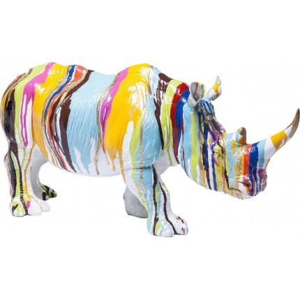 Déco Rhino blanc coulées de peinture Kare Design
