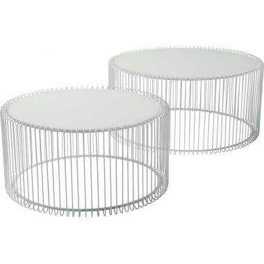 Tables basses Wire blanche 2/set Kare Design