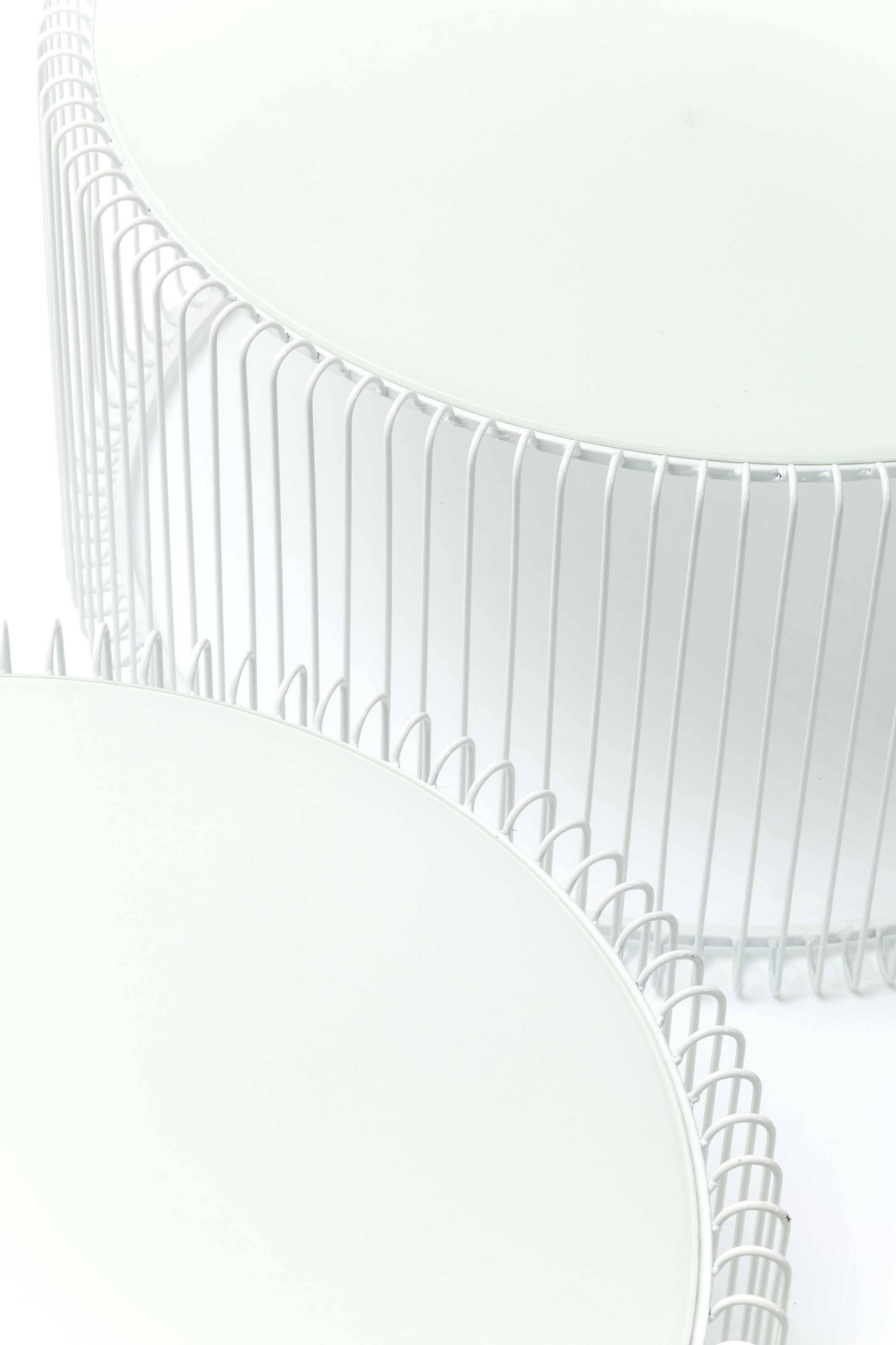 Tables basses rondes Wire set de 2 blanches Kare Design