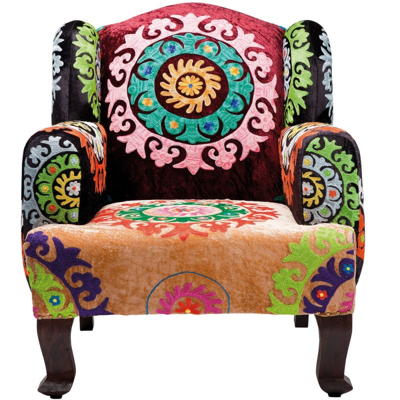 fauteuil ethnique multicolore mandala kare design. Black Bedroom Furniture Sets. Home Design Ideas