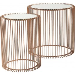 Tables d'appoint Wire cuivre set de 2 Kare Design