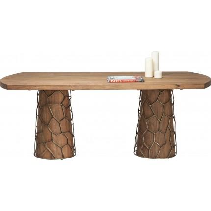 Table en bois Mesh Brass 200x100cm Kare Design