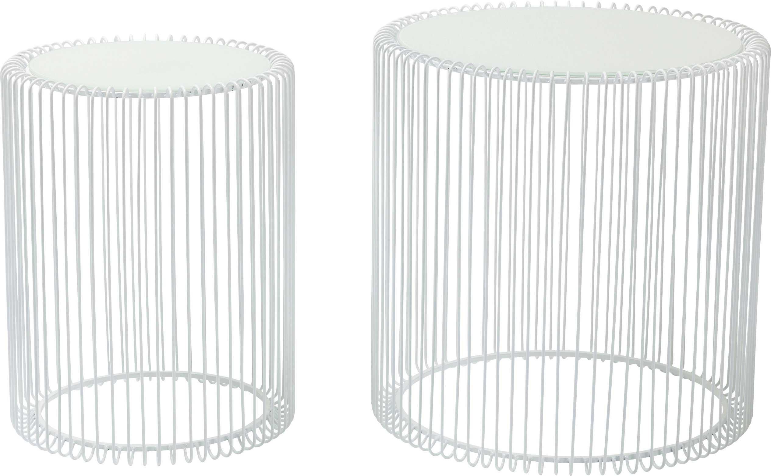 Tables d'appoint rondes Wire blanches set de 2 Kare Design