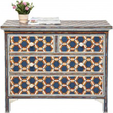 Commode Honeycomb bleu 4 tiroirs Kare Design