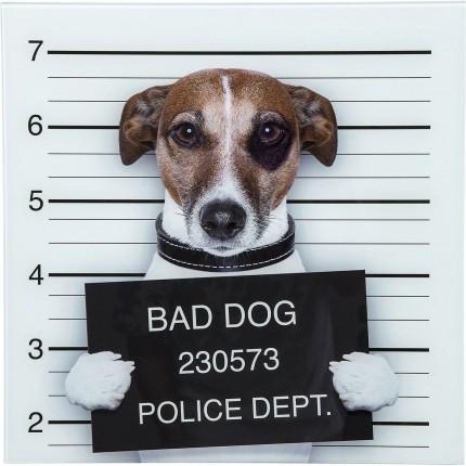 Tableau en verre Bad Dog 40x40cm Kare Design