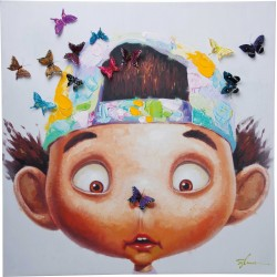 Tableau Touched Boy with Butterflys 70x70cm Kare Design