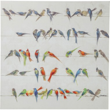 Tableau Touched Birds Meeting 100x100cm Kare Design