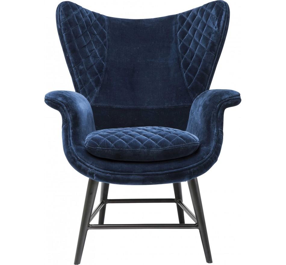 Fauteuil Design Tudor velours bleu Kare Design