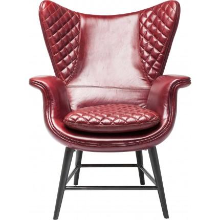 Fauteuil Tudor cuir rouge Kare Design