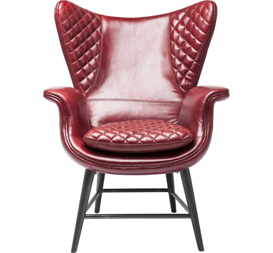 Fauteuil Design Tudor cuir rouge Kare Design