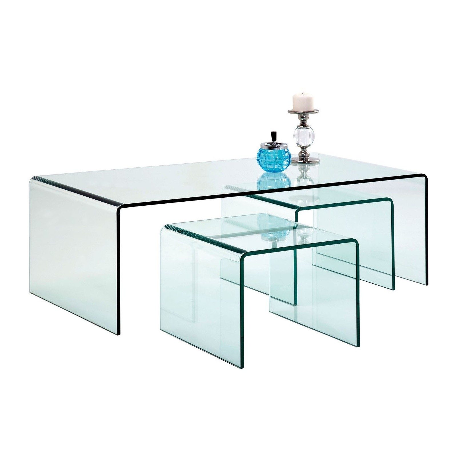 Table basse contemporaine en verre clear club kare design for Set de table verre