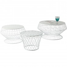 Tables d'appoint Wire White 3/set Kare Design