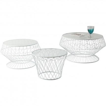 Tables d'appoint Wire White set de 3 Kare Design