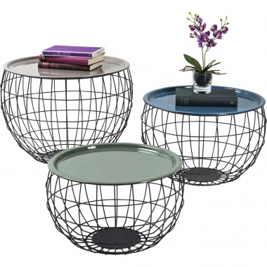 Tables basses La Costa Wire set de 3 Kare Design