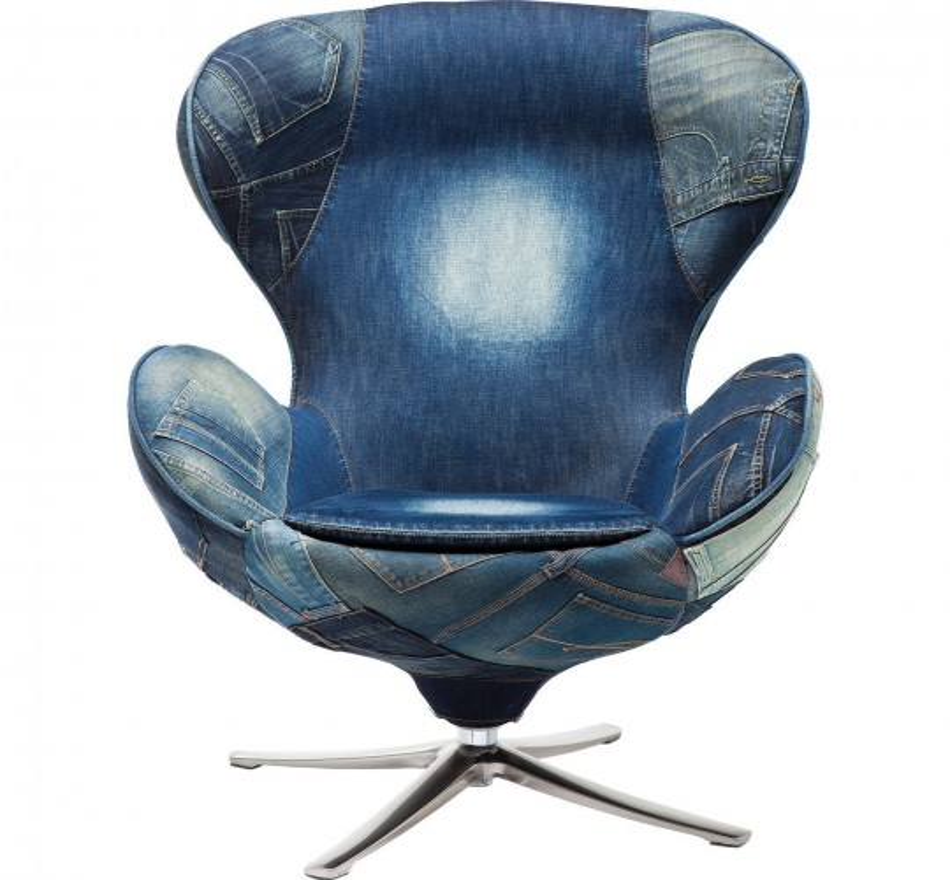 Fauteuil Pivotant Lounge Jeans Kare Design